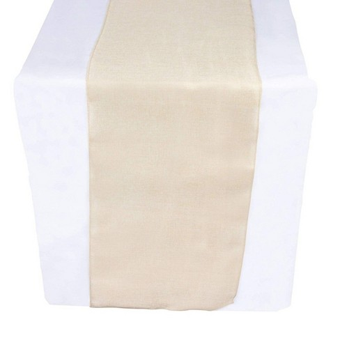 Genie Crafts Beige Linen Fabric Dining Table Runner Roll, 360 Inches Long x 17.7 in - image 1 of 4