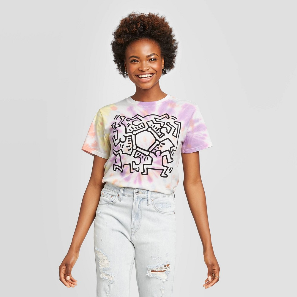 Image of Women's Keith Haring Short Sleeve Graphic T-Shirt (Juniors') - L, Women's, Size: Large, MultiColored