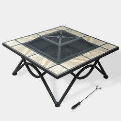 """2-in-1 33"""" Ceramic Tile Fire Table - Natural - leisurelife"""