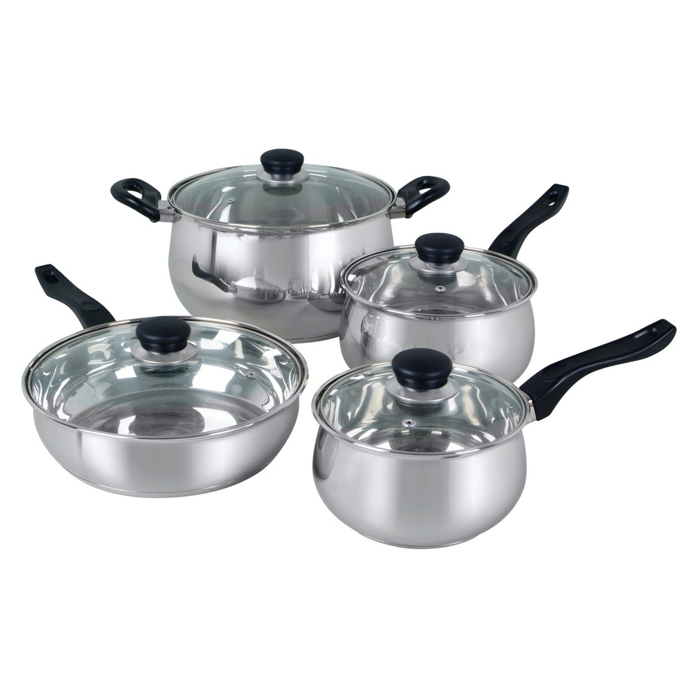 Oster Rametto 8pc Stainless Steel Cookware Set, Silver