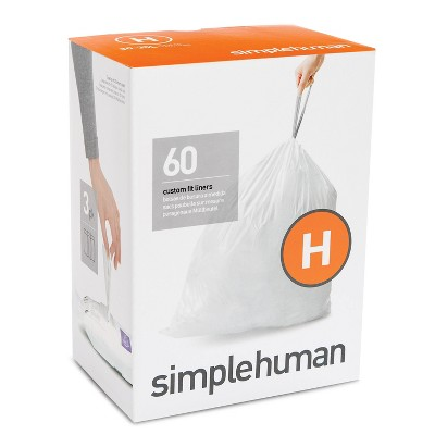 simplehuman 30-35L 60ct Code H Custom Fit Trash Can Liner White
