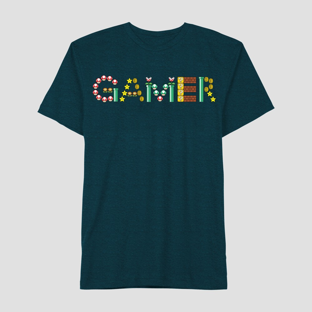 Boys' Super Mario Gamer Short Sleeve T-Shirt - Turquoise Xxl, Blue