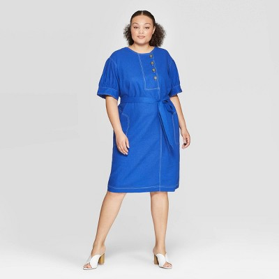 Women's Plus Size Pleated Short Sleeve Crewneck Dress   Who What Wear by Who What Wear