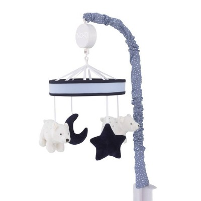 NoJo Cosmo Bear Musical Mobile with Bears Moon and Stars - Navy/Light Blue/White/Gray