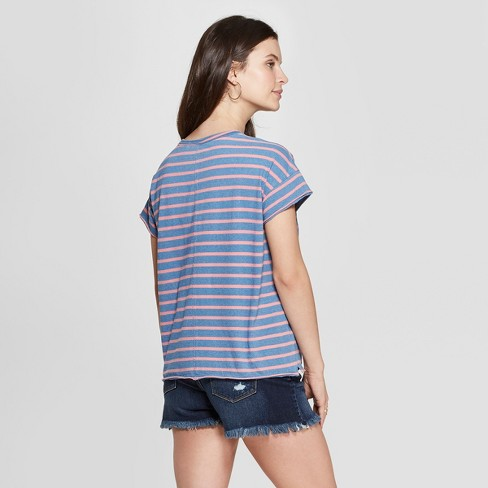 b369816fe56ca Women s Striped Short Sleeve Crewneck Raw Hem Relaxed T-Shirt - Universal  Thread™ Coral   Target