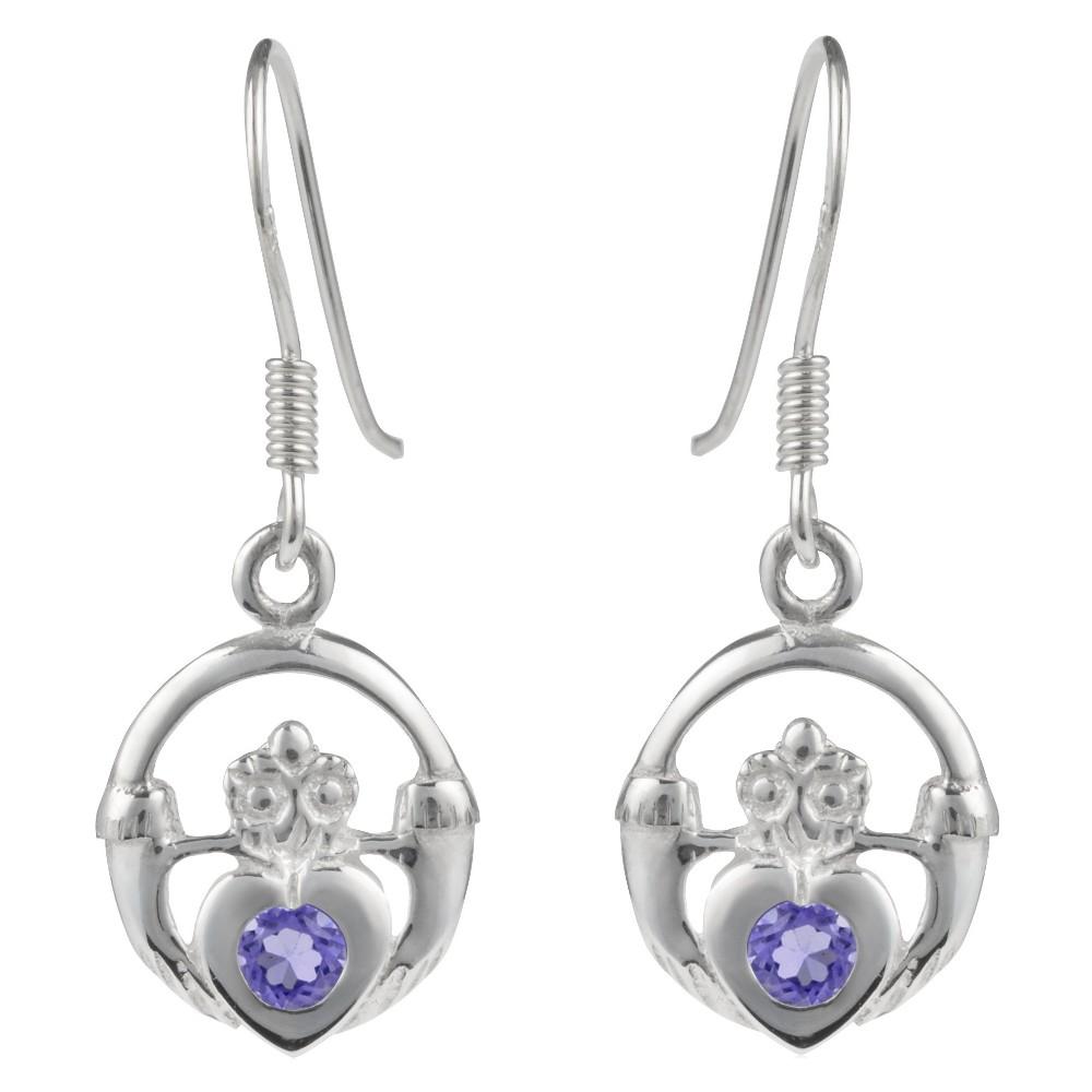 1/10 CT. T.W. Heart-cut Amethyst Basket Set Claddagh Dangle Earrings in Sterling Silver - Purple, Girl's
