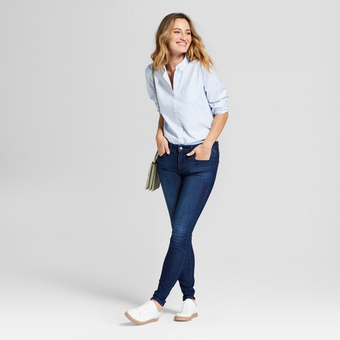 Womens Mid Rise Skinny Jeans Universal Thread Dark Wash 12