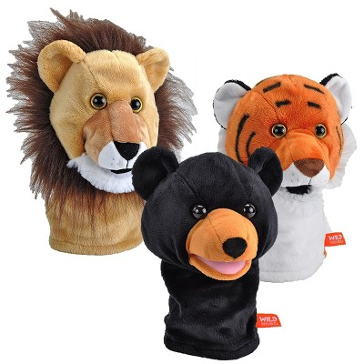 Wild Republic Wild Calls Puppet Set with Realistic Sounds - Set of 3 - Lion, Tiger & Bear