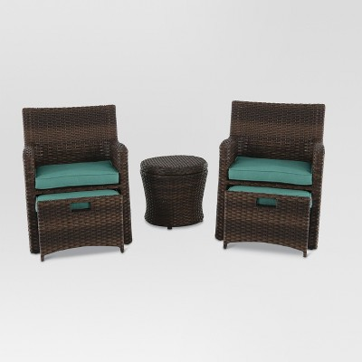 Halsted 5pc All Weather Wicker Patio Chat Set - Turquoise - Threshold™