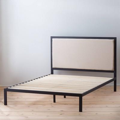 Metal Platform Bed Frame with Upholstered Headboard - Brookside Home