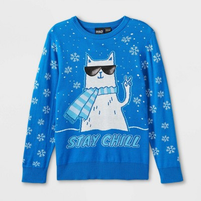 Boys' Stay Chill Cat Pullover Sweater - Blue