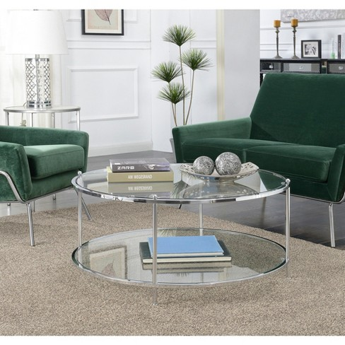 Royal Crest 2 Tier Round Glass Coffee Table Clear Glass Chrome Frame Breighton Home Target