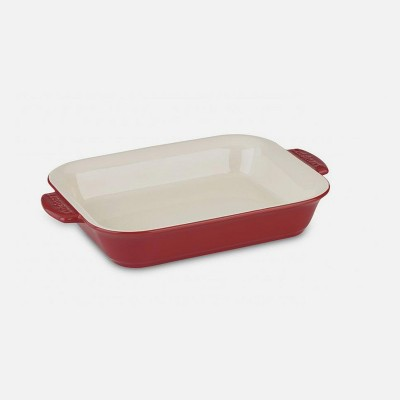 Cuisinart 4 Quart Capacity Chef's Classic Ceramic Chip and Stain Resistant Ceramic Rectangular Casserole Dish Bakeware with Carry Handles, Red