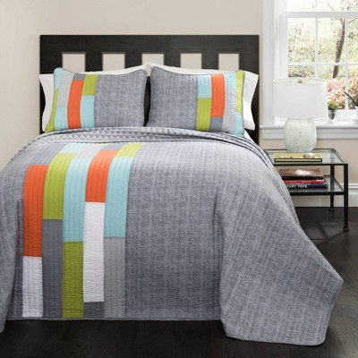 Shelly Stripe Quilt Set - Lush Décor