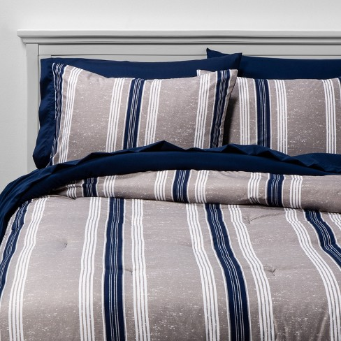 Bed in a Bag Blue & Gray Stripe Printed Microfiber with Navy Sheets - Room Essentials™ - image 1 of 3