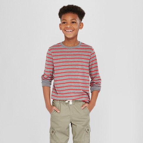 Boys' Long Sleeve Stripe T-Shirt - Cat & Jack™ Red M - image 1 of 3