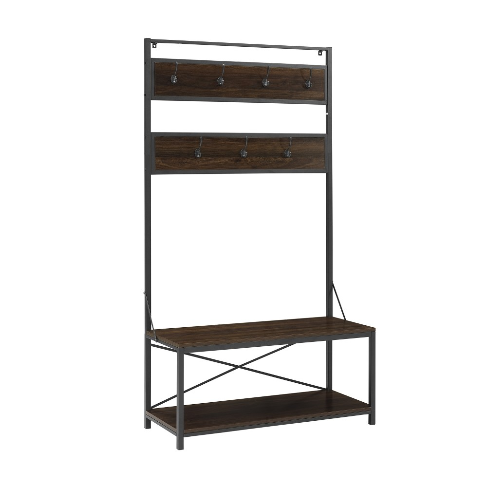 "Image of ""72"""" Industrial Metal and Wood Hall Tree Dark Walnut - Saracina Home"""