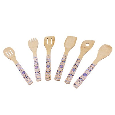 BergHOFF Patterned Bamboo 6Pc Utensil Set, Blue