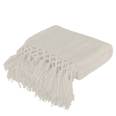 Dede Crochet Throw Blanket Ivory - Décor Therapy