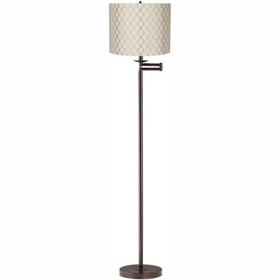 Regency Hill Modern Swing Arm Floor Lamp Bronze Embroidered Hourglass Off White Fabric Drum Shade for Living Room Reading Bedroom