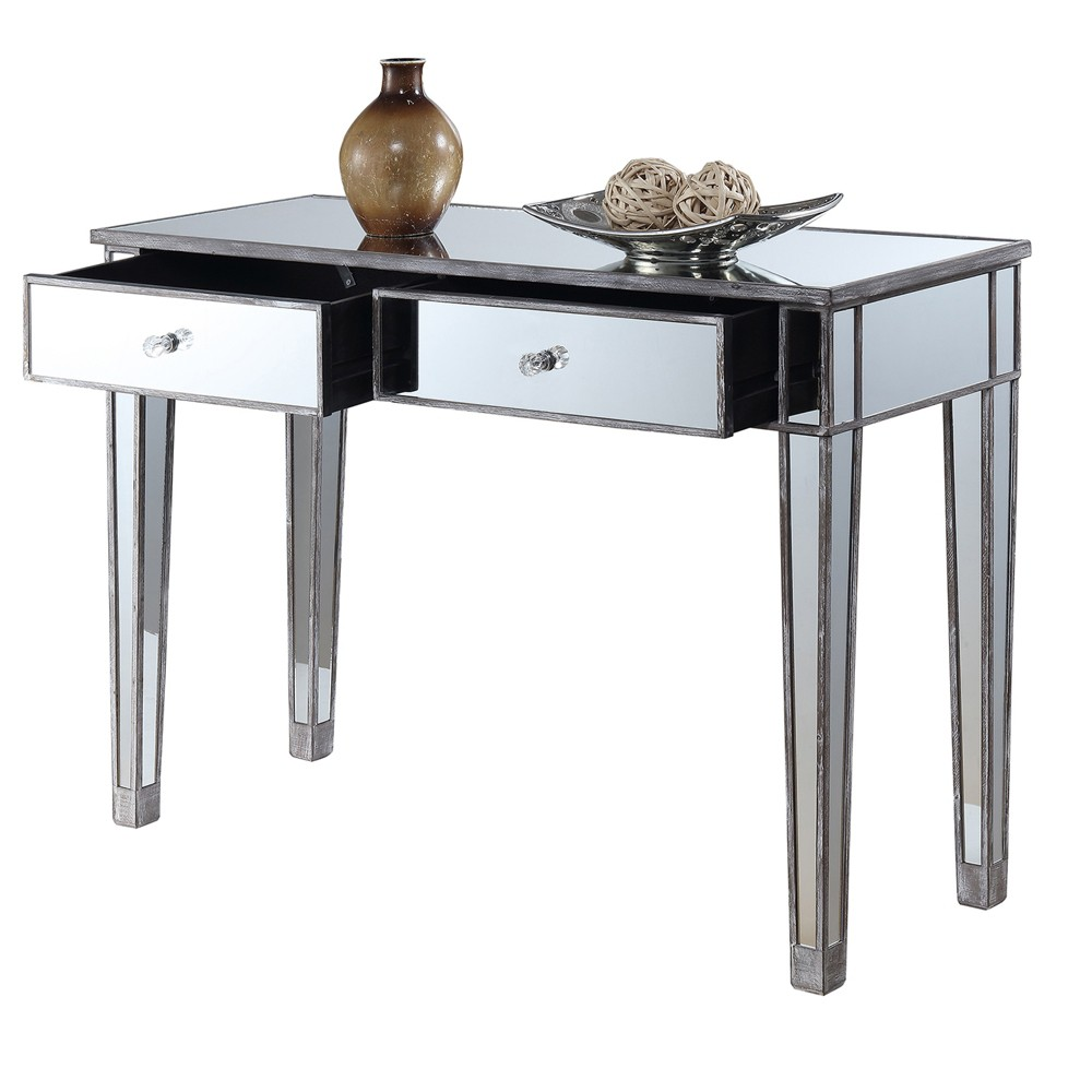 Gold Coast Mirrored Desk Vanity Weathered Gray - Johar Furniture