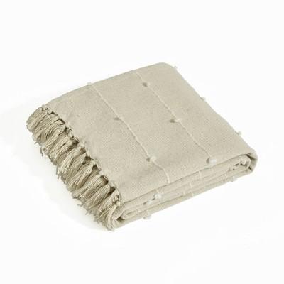 "60""x50"" Boho Tufted Cotton Woven Tassel and Fringe Throw Blanket Neutral - Lush Décor"