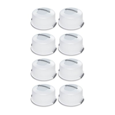 Sterilite Portable Latching Cake Server Carrier Keeper with Handles (8 Pack)