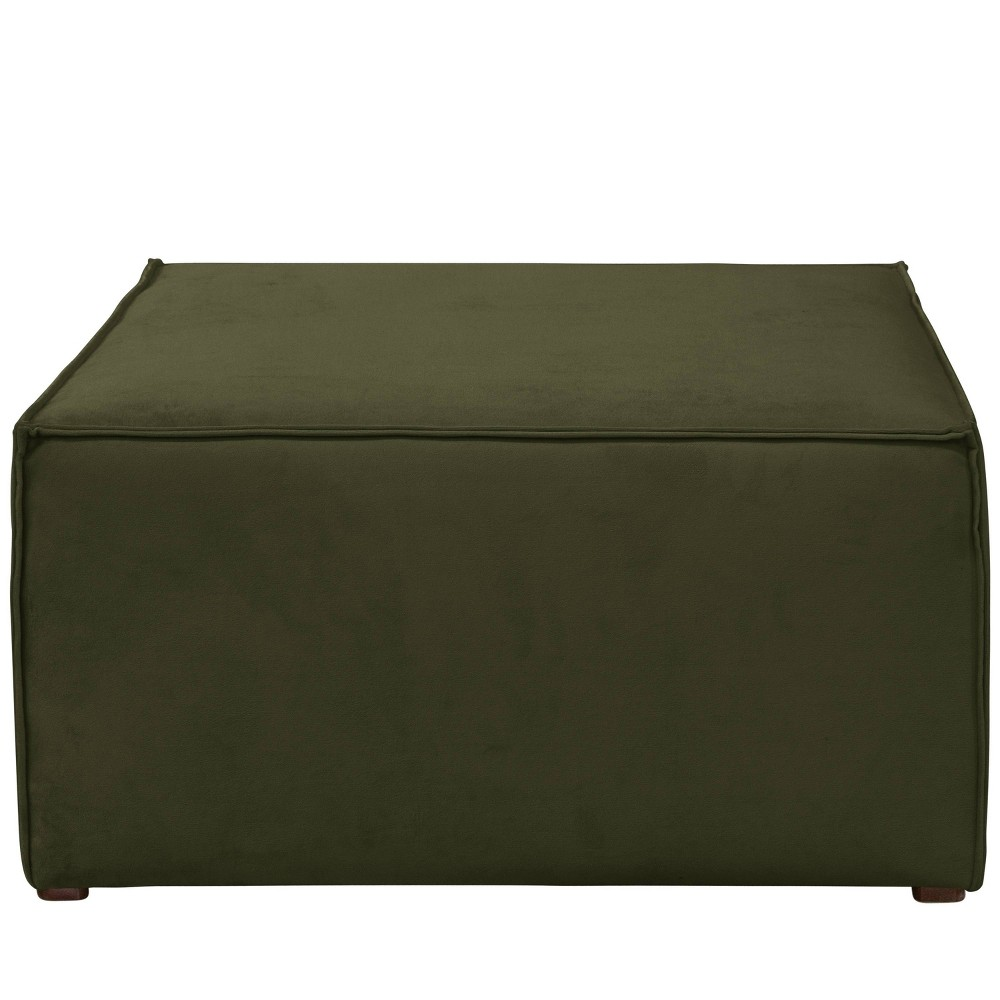 French Seamed Ottoman in Velvet Loden Green - Cloth & Co.