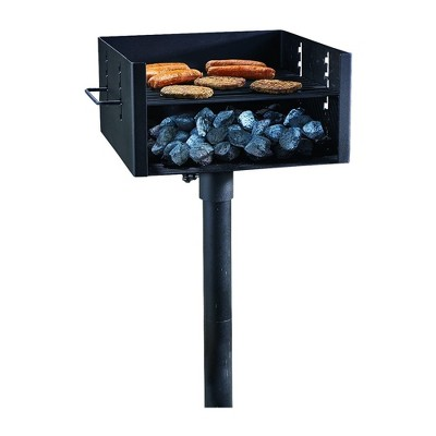 Guide Gear Heavy Duty Steel Park Style Large 4 Adjustment Grate Level Charcoal Grill with 50 Inch Pole for Outdoor Cooking and Camping Trips, Black