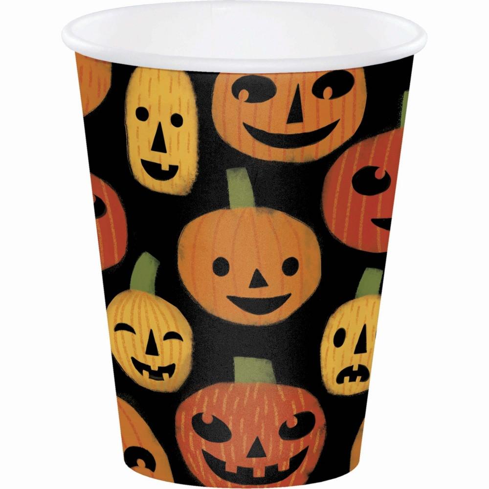 Halloween Pumpkins Paper Cups 8ct Orange/Black - Hyde and Eek! Boutique