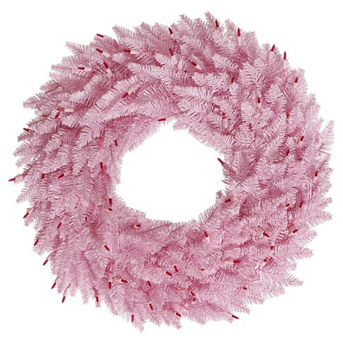 "24"" Fir Wreath 210T - Pink - image 1 of 1"