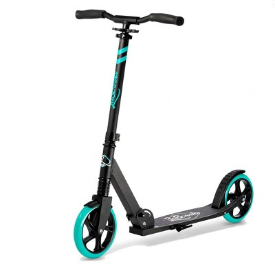 LaScoota Premium Teen Adult Adjustable Portable Folding Kick Scooter with Lightweight Wide Non Slip Deck and Carry Strap, Aqua