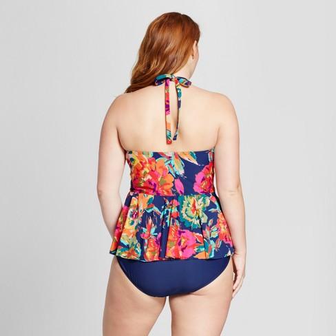 8c7c6c516 Sea Angel Women s Plus Size Floral High Neck Tankini Top - 3X   Target