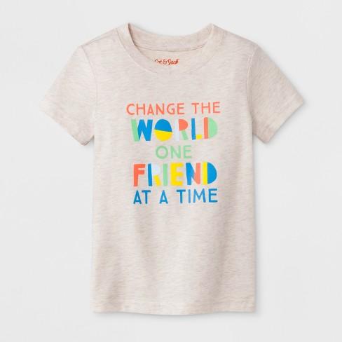 38a866e85fc7 Toddler Boys' Change the World Short Sleeve T-Shirt - Cat & Jack™ Light Tan