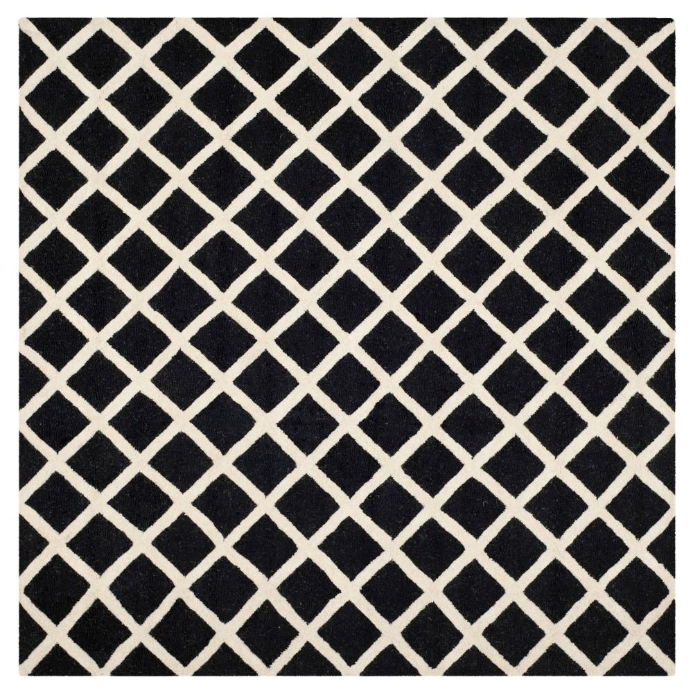 6'X6' Trellis Area Rug Black/Ivory - Safavieh