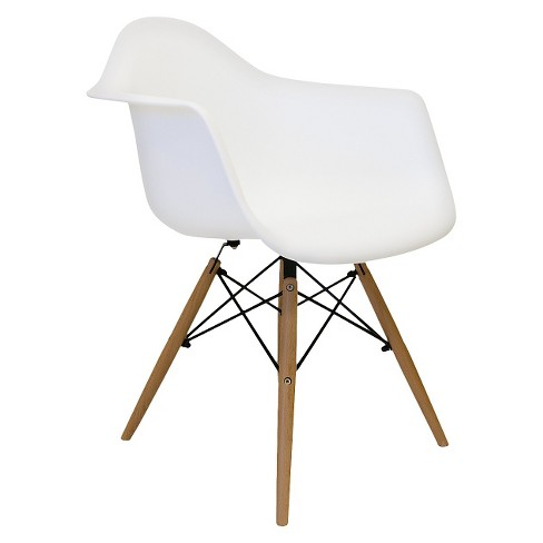 Set of 2 Aeon Dijon Arm Chair - White with Wood Legs - image 1 of 1