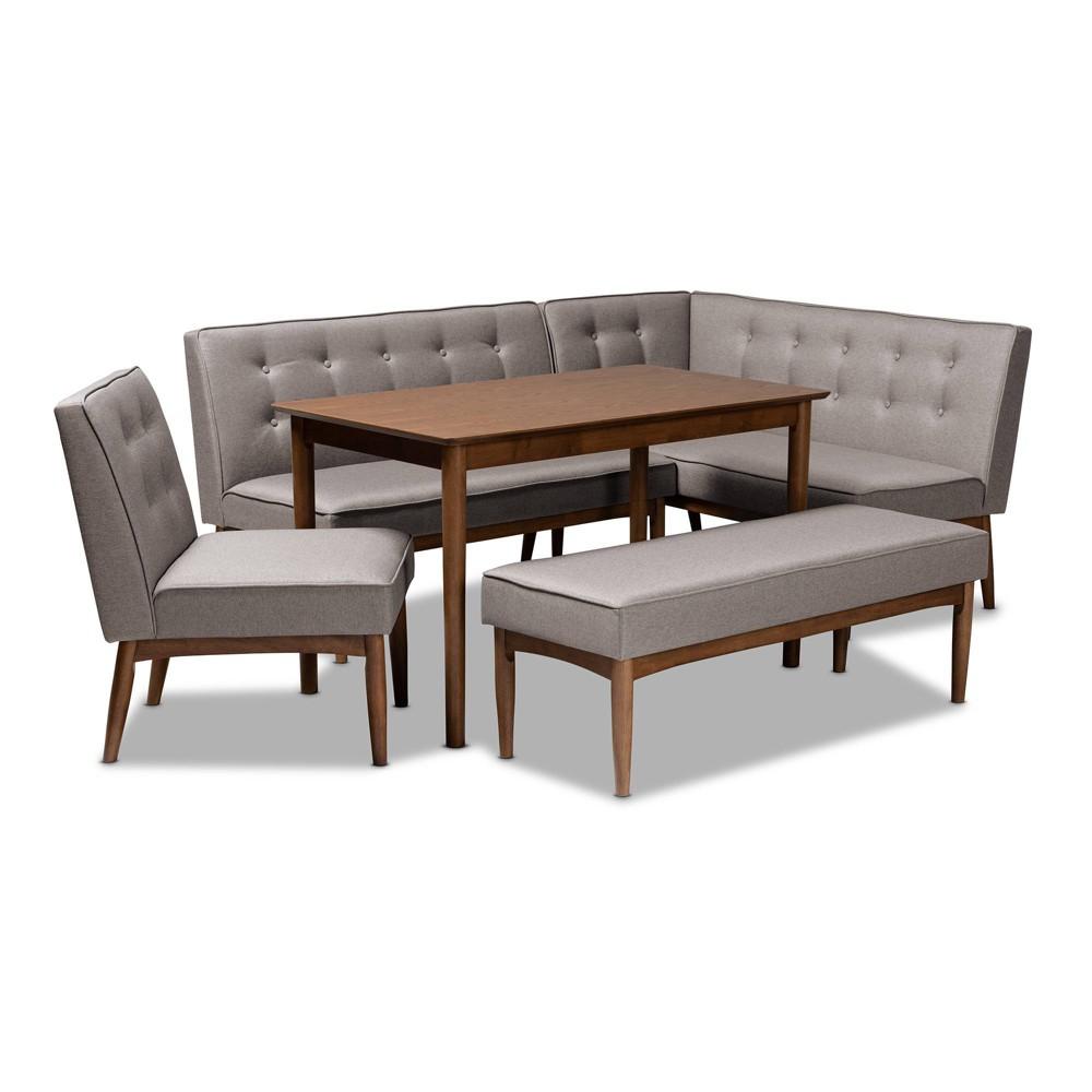 5pc Arvid Wood Dining Nook Set Gray - Baxton Studio