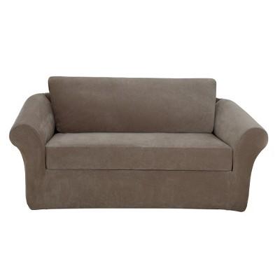Stretch Pique 3 Piece Sofa Slipcover Taupe - Sure Fit