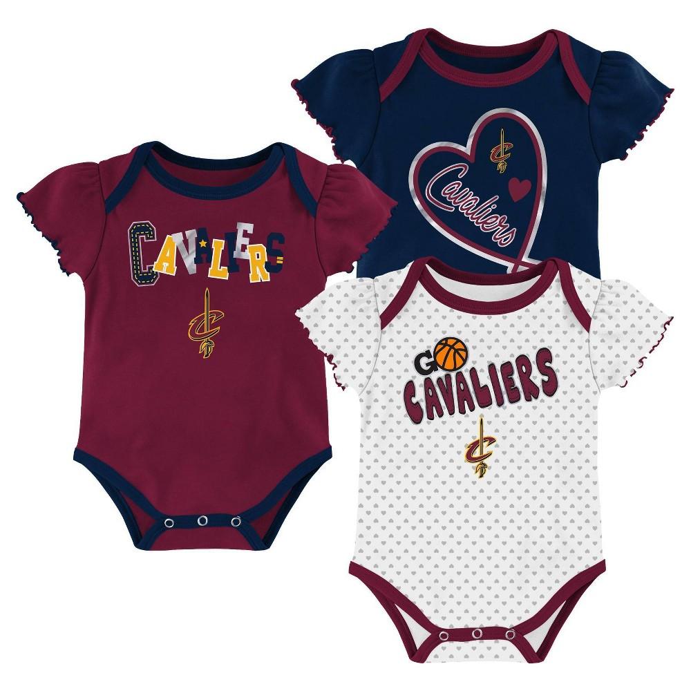 Nba Cleveland Cavaliers Girls 39 Draft Pick Body Suit Set 3pk 18m