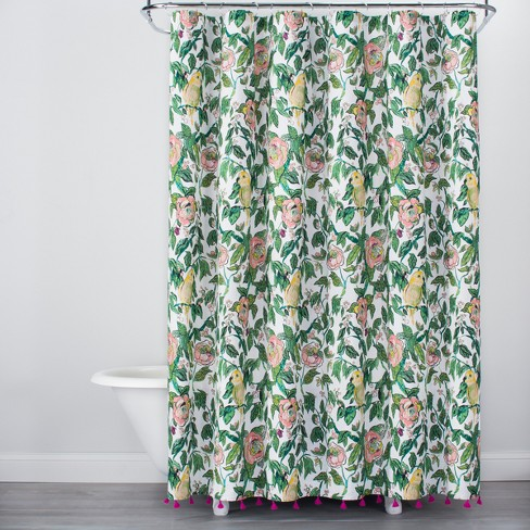 Alfama Parrot Print With Tassels Shower Curtain Green Yellow