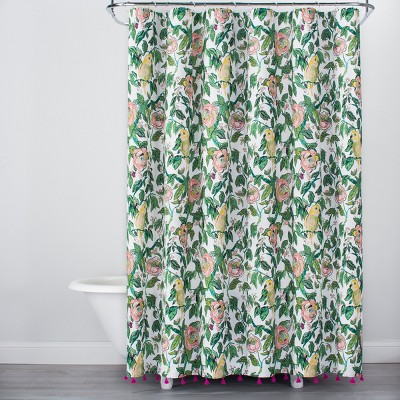 Alfama Parrot Print With Tassels Shower Curtain Green/Yellow   Opalhouse™