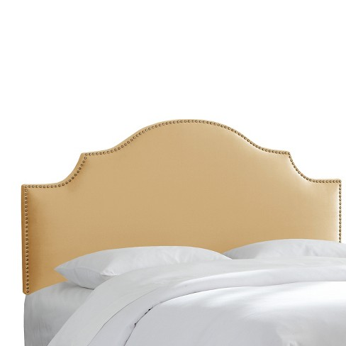 Twin Nail Button Notched Headboard Velvet Buckwheat - Threshold™ - image 1 of 1