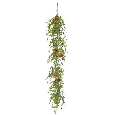 """Northlight 5' x 8"""" Green/Red Succulent Plant and Mixed Fern Artificial Garland"""