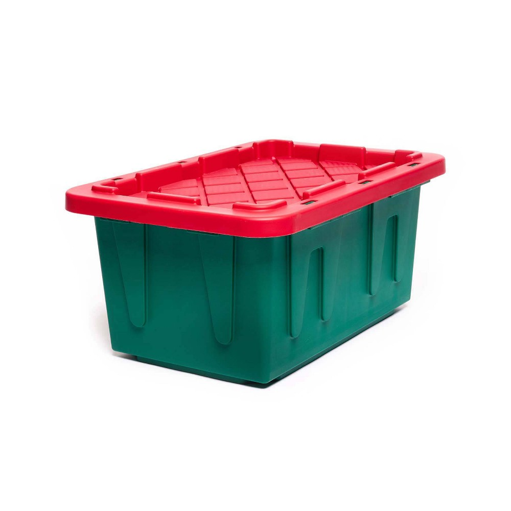 Image of 15gal 2pk Holiday Durabilt Tough Container - Homz, Green Red