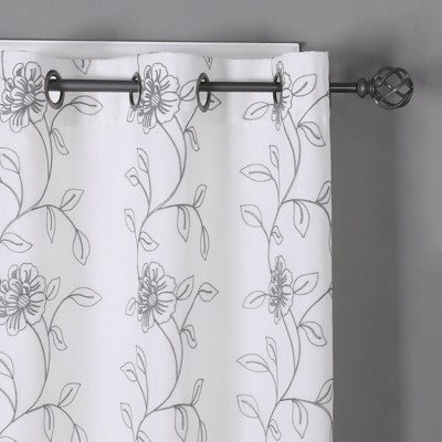 Kate Aurora Floral Embroidered Double Layered Sheer Grommet Curtains