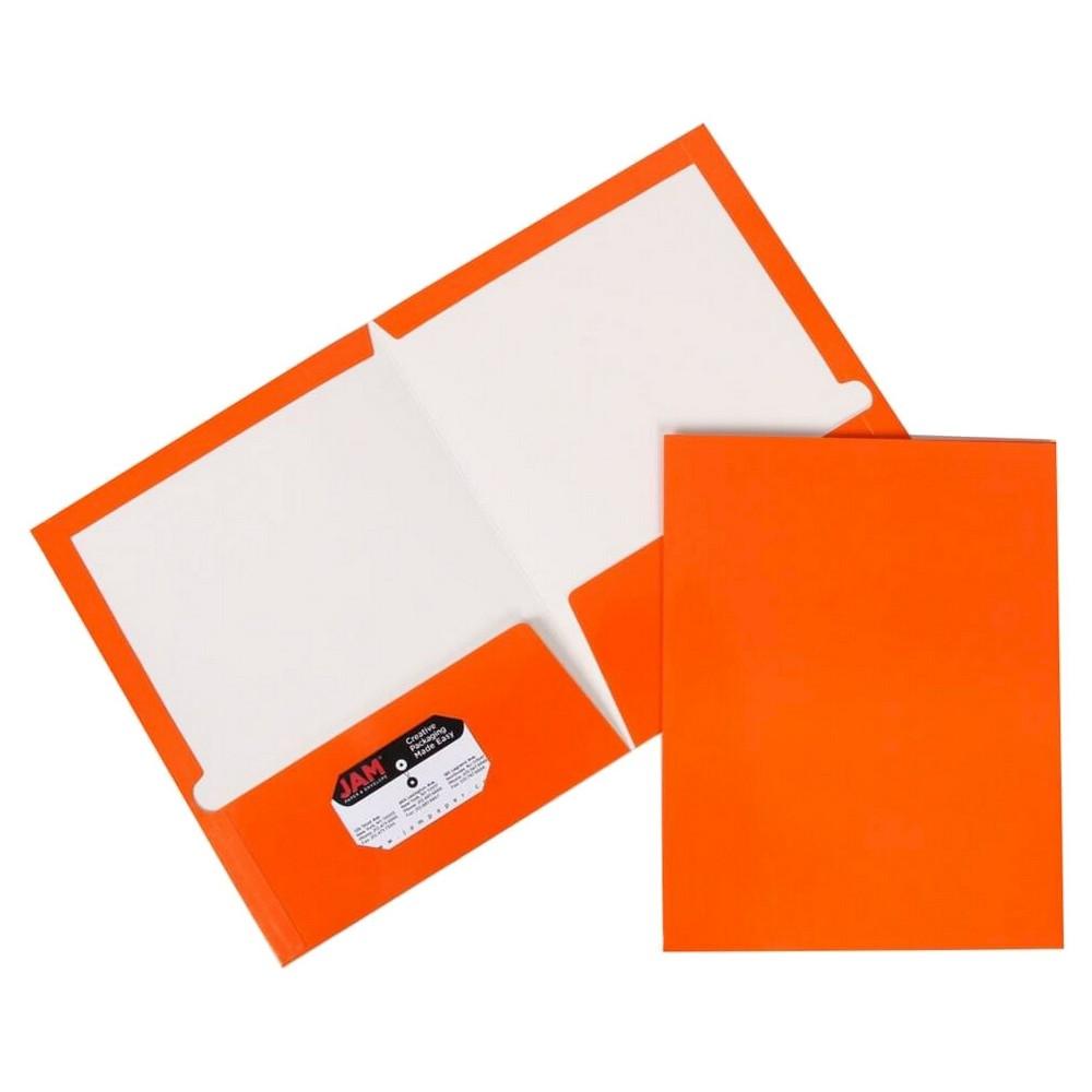 Jam Paper Glossy Paper Folder 6pk - Orange, Orange Smoothie