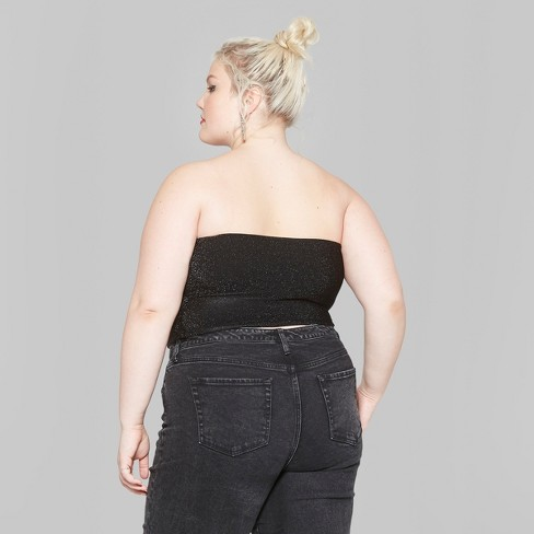 d7be1e9d12 Women s Plus Size Glitter Tube Top - Wild Fable™ Black 1X   Target