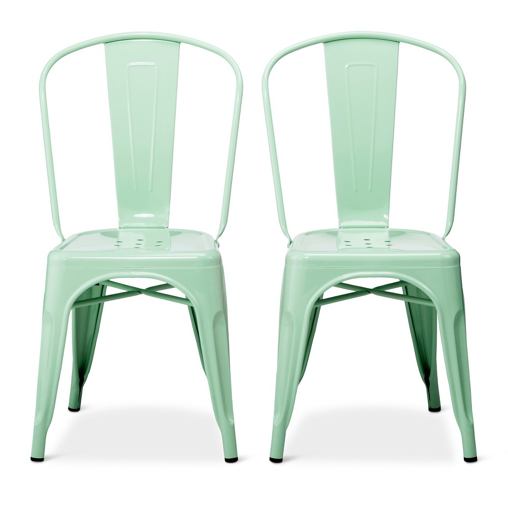 Image of Carlisle High Back Metal Dining Chair - Mint (Set of 2), Size: 2 Pack - Ships Flat, Green