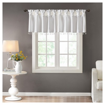 """26""""x50"""" Lillian Faux Silk Twisted Tab Valance with Beads"""