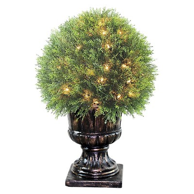 """Upright Juniper Ball Topiary Tree in a Decorative Urn with 70 Clear Lights (27"""")"""